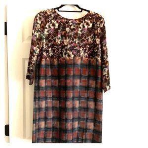 Maeve Floral/Plaid Midi Dress